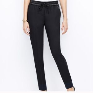 Ann Taylor dressy joggers with faux leather trim